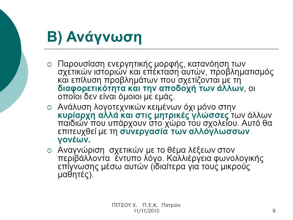 Β) Ανάγνωση