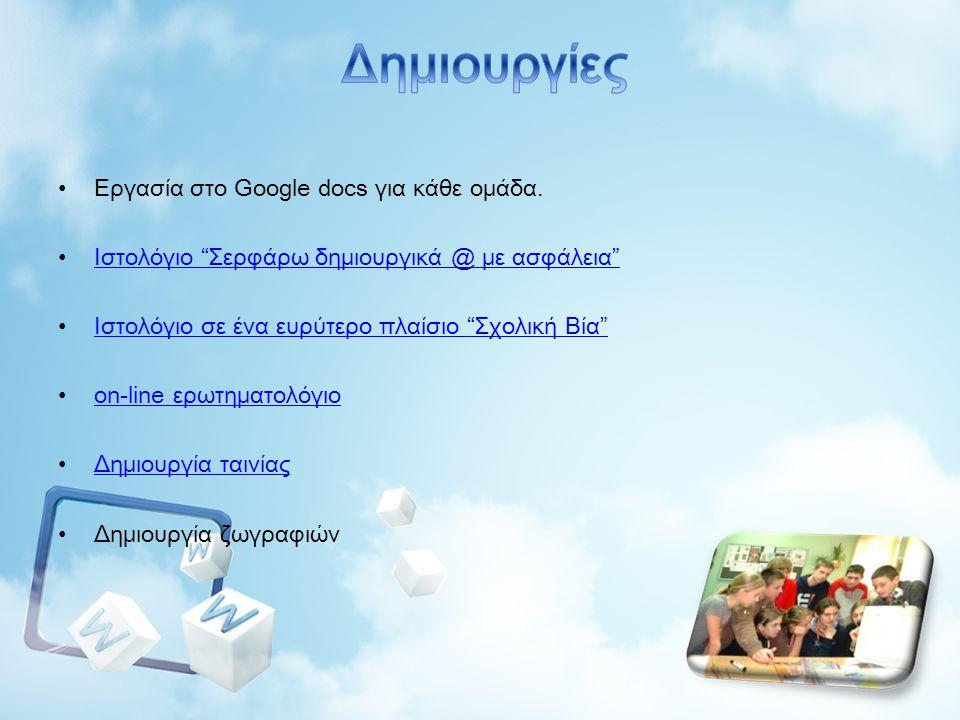 Δημιουργίες Eργασία στο Google docs για κάθε ομάδα.