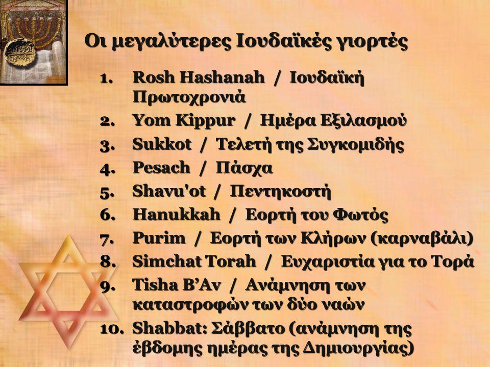 Οι μεγαλύτερες Ιουδαϊκές γιορτές