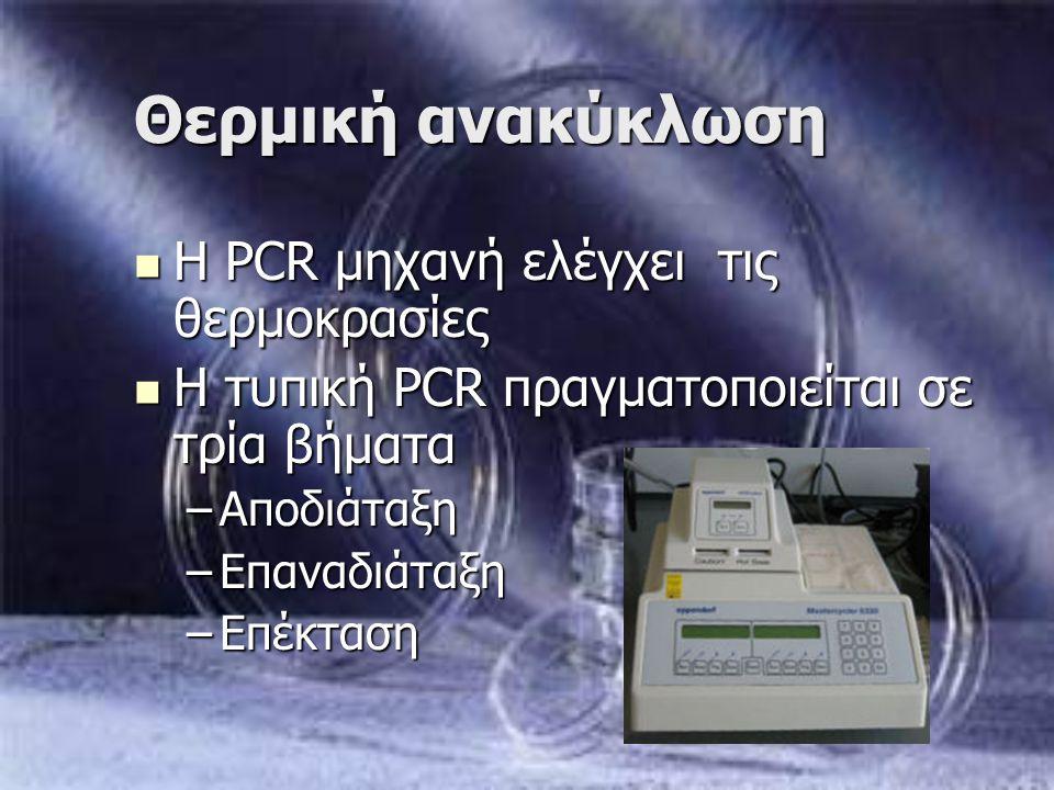 Θερμική ανακύκλωση Η PCR μηχανή ελέγχει τις θερμοκρασίες