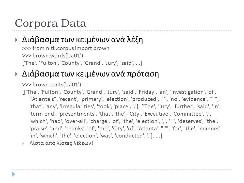 Corpora Data Διάβασμα των κειμένων ανά λέξη