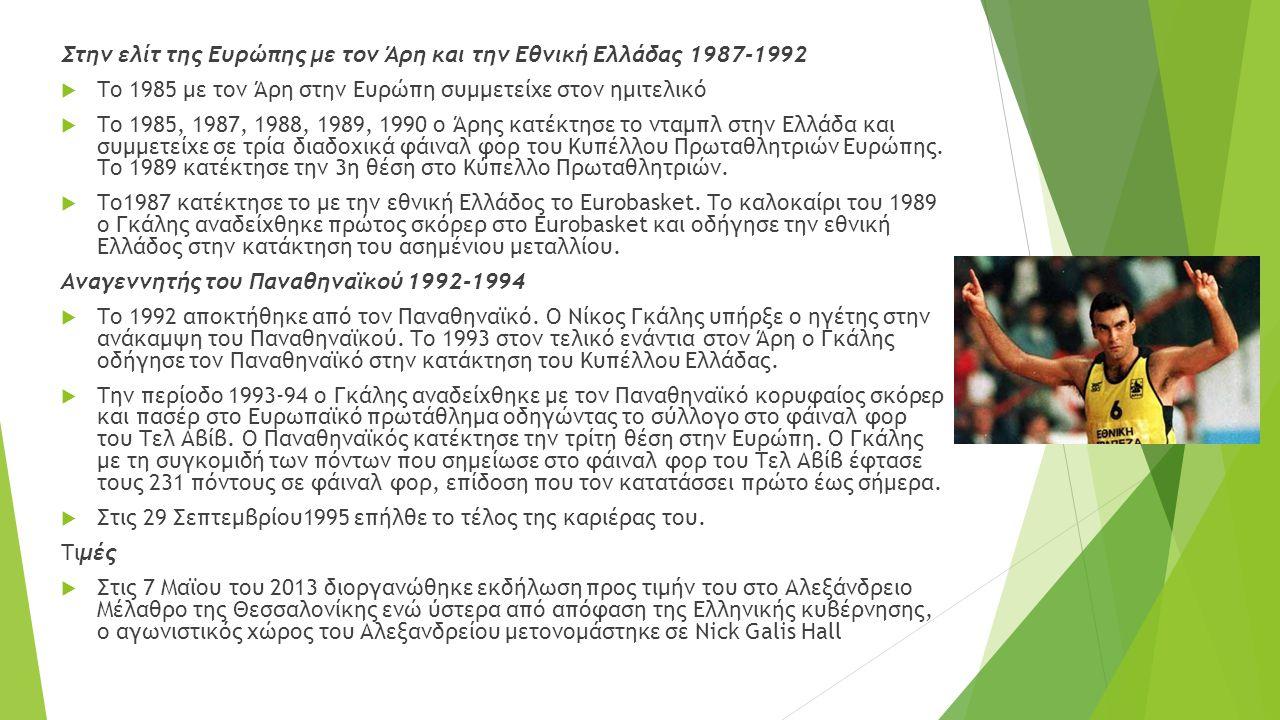 Στην ελίτ της Ευρώπης με τον Άρη και την Εθνική Ελλάδας 1987-1992
