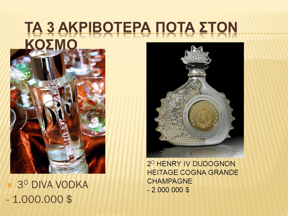 3Ο DIVA VODKA - 1.000.000 $ ΤΑ 3 ΑΚΡΙΒΟΤΕΡΑ ΠΟΤΑ ΣΤΟΝ ΚΟΣΜΟ