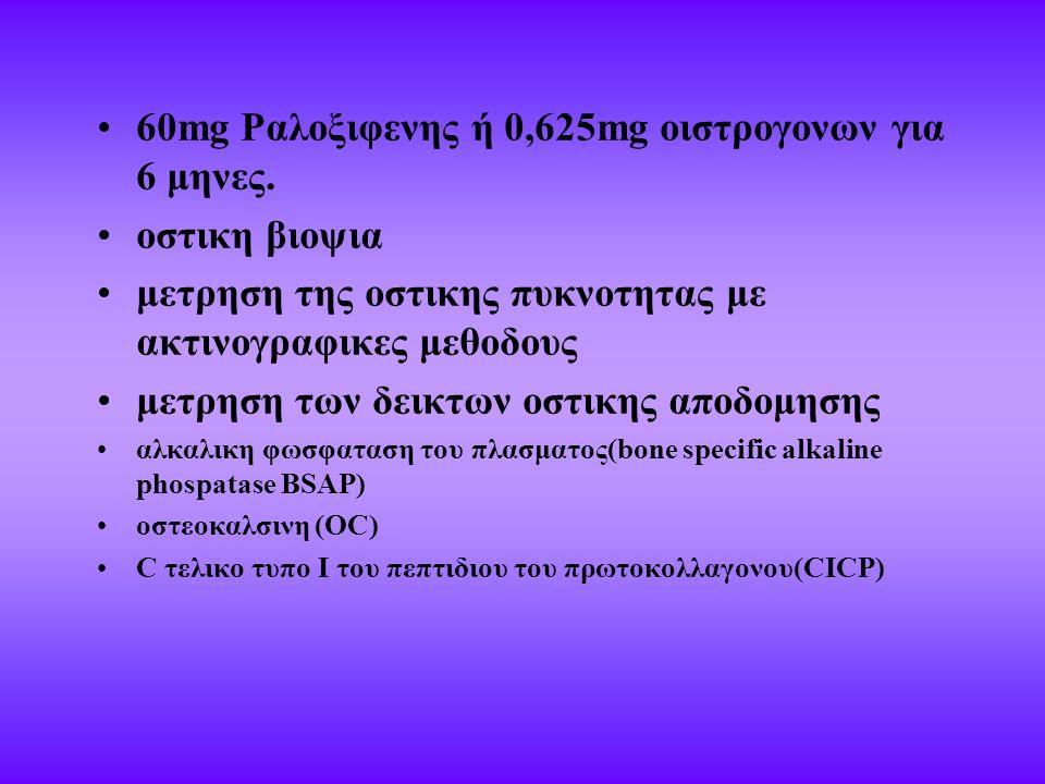 60mg Ραλοξιφενης ή 0,625mg οιστρογονων για 6 μηνες. οστικη βιοψια