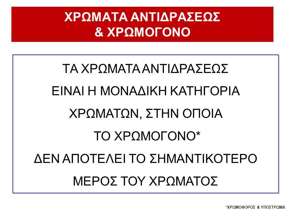 ΧΡΩΜΑΤΑ ΑΝΤΙΔΡΑΣΕΩΣ & ΧΡΩΜΟΓΟΝΟ