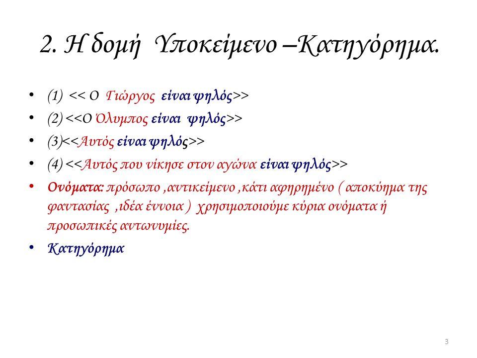 2. Η δομή Υποκείμενο –Κατηγόρημα.