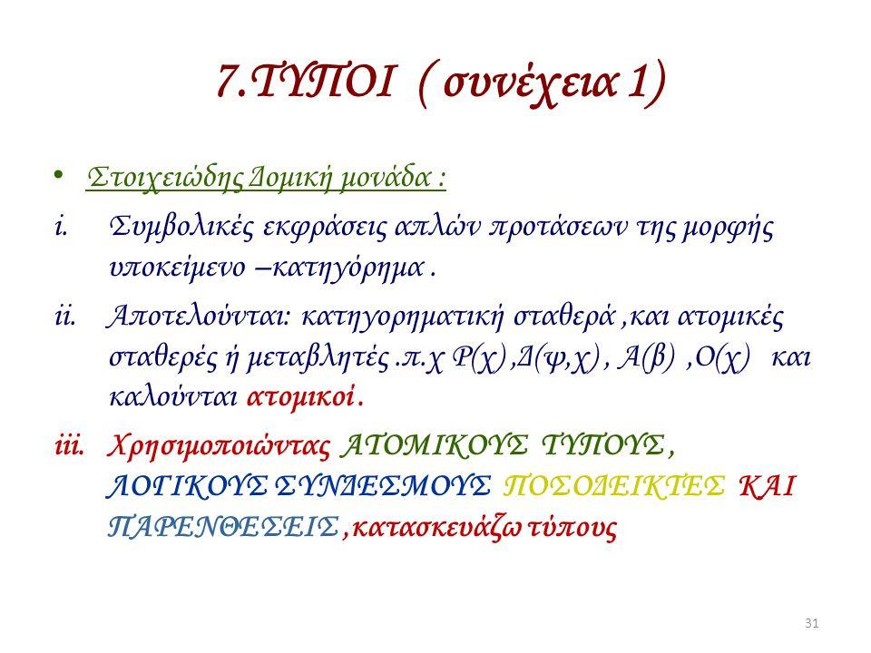 7.ΤΥΠΟΙ ( συνέχεια 1) Στοιχειώδης Δομική μονάδα :