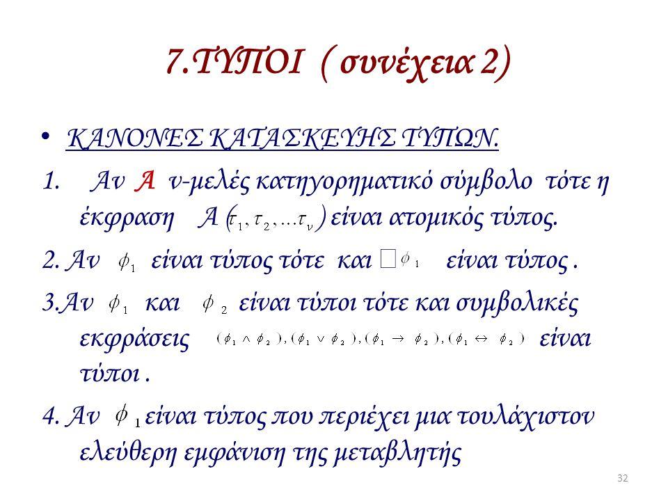 7.ΤΥΠΟΙ ( συνέχεια 2) ΚΑΝΟΝΕΣ ΚΑΤΑΣΚΕΥΗΣ ΤΥΠΩΝ.