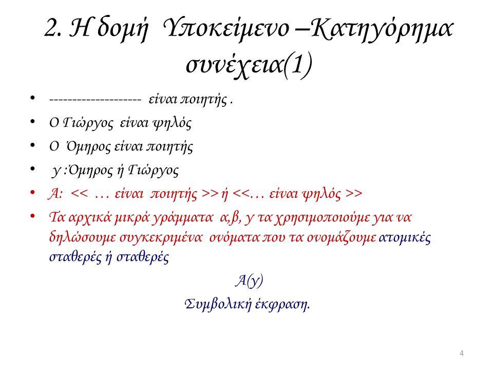 2. Η δομή Υποκείμενο –Κατηγόρημα συνέχεια(1)