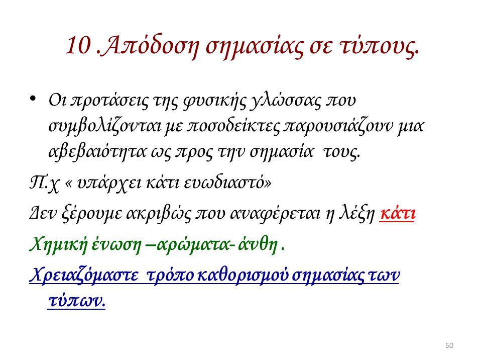 10 .Απόδοση σημασίας σε τύπους.