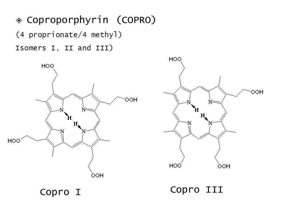 Copro III Copro I  Coproporphyrin (COPRO) (4 proprionate/4 methyl)