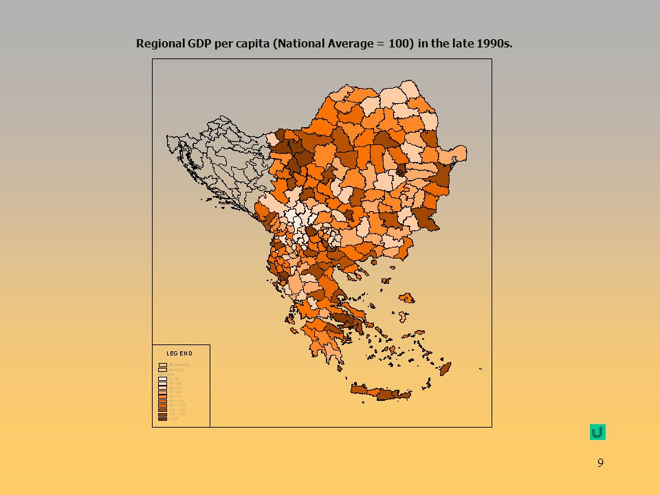 Regional GDP per capita (National Average = 100) in the late 1990s.