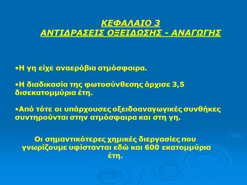 ΑΝΤΙΔΡΑΣΕΙΣ ΟΞΕΙΔΩΣΗΣ - ΑΝΑΓΩΓΗΣ