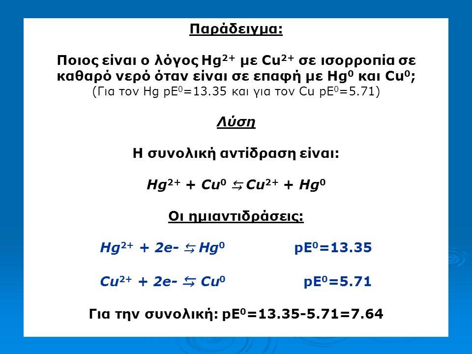 Η συνολική αντίδραση είναι: Για την συνολική: pE0=13.35-5.71=7.64