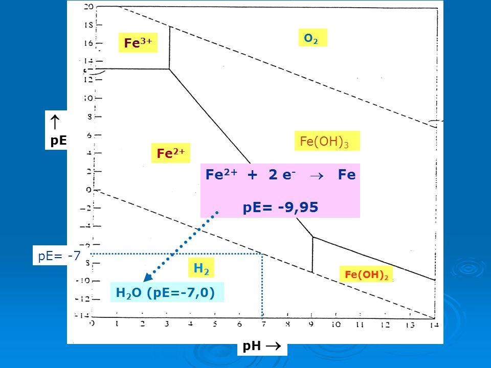  Fe2+ + 2 e-  Fe pE= -9,95 Fe3+ pE Fe(OH)3 Fe2+ pΕ= -7 H2