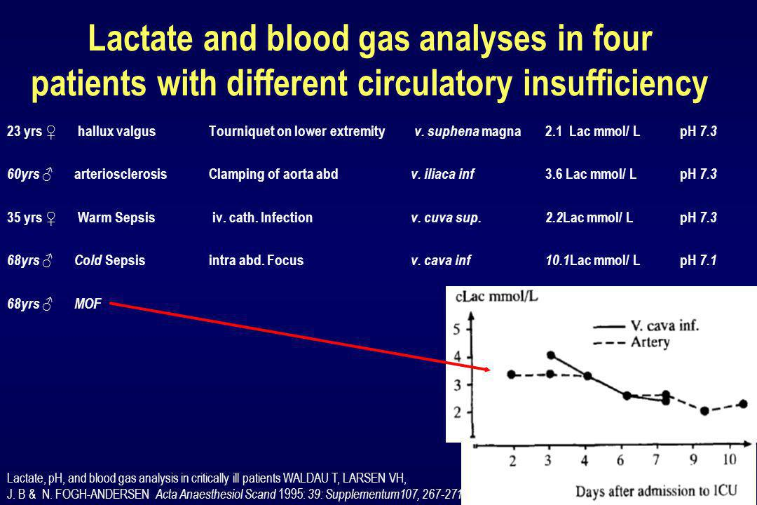 Lactate and blood gas analyses in four patients with different circulatory insufficiency