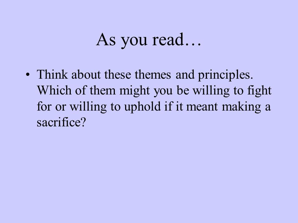 As you read…