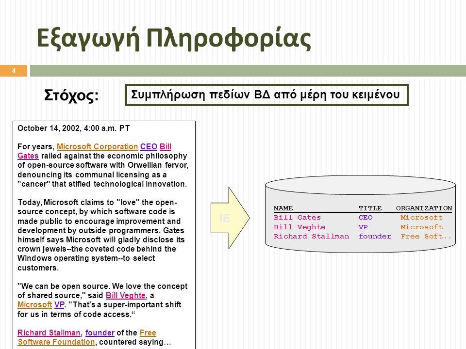 Εξαγωγή Πληροφορίας Στόχος: Συμπλήρωση πεδίων ΒΔ από μέρη του κειμένου