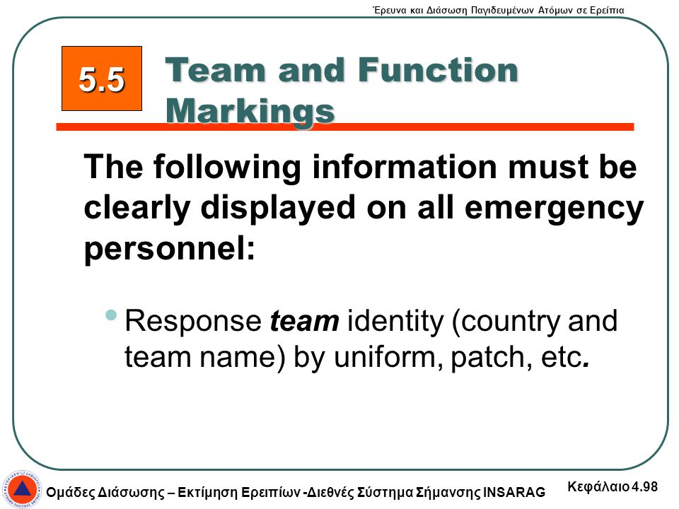 Team and Function Markings