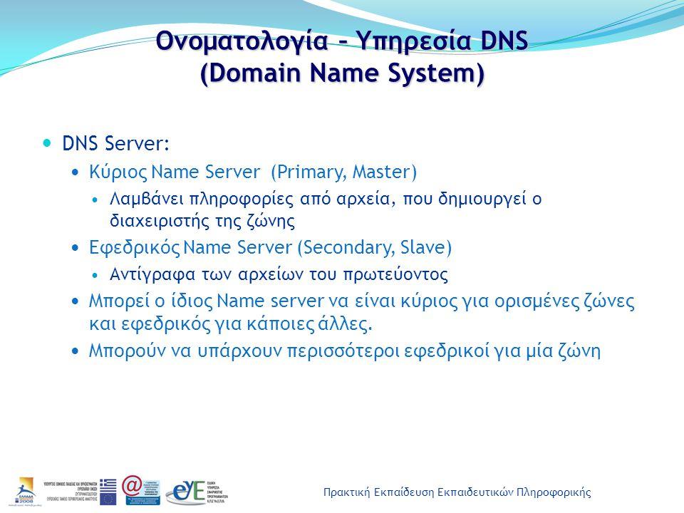 Ονοματολογία – Υπηρεσία DNS (Domain Name System)