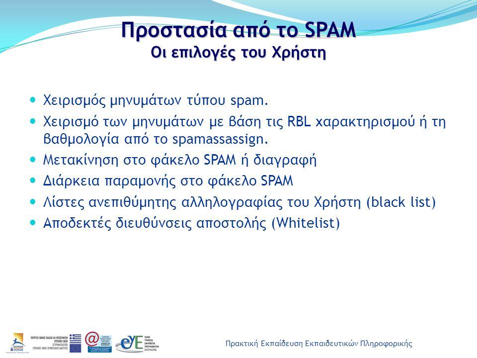 Προστασία από το SPAM Οι επιλογές του Χρήστη