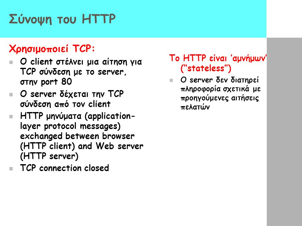 Σύνοψη του HTTP Χρησιμοποιεί TCP: