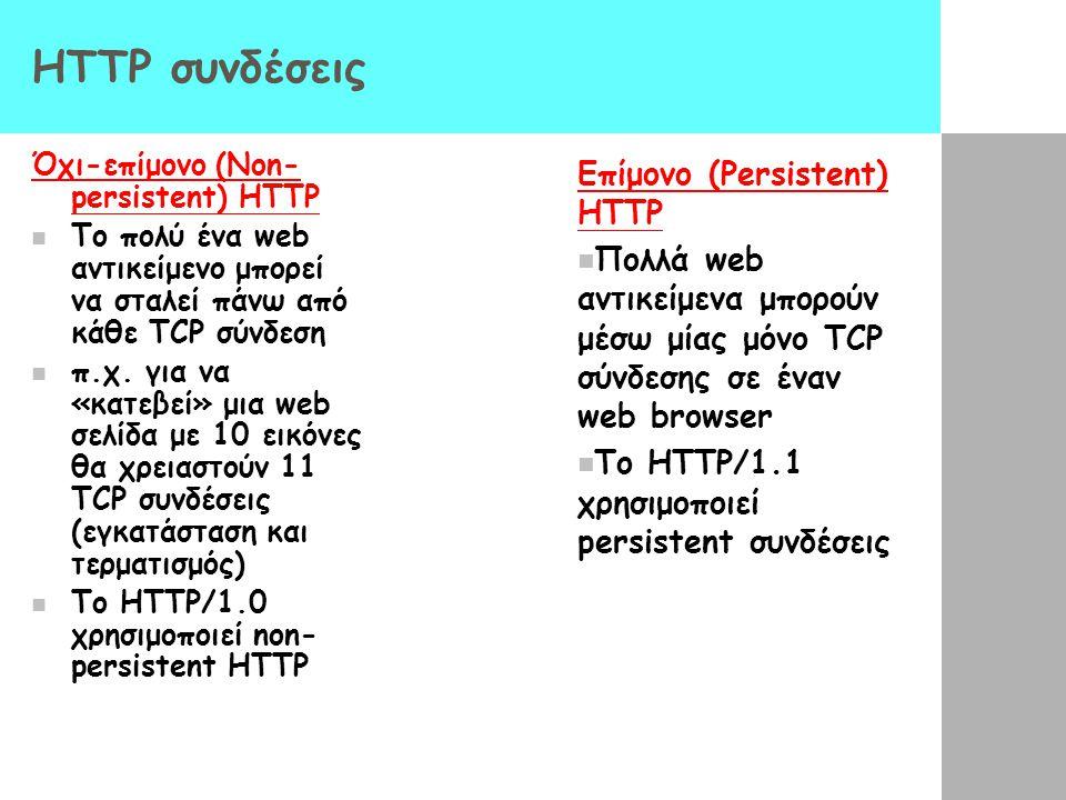 HTTP συνδέσεις Επίμονο (Persistent) HTTP