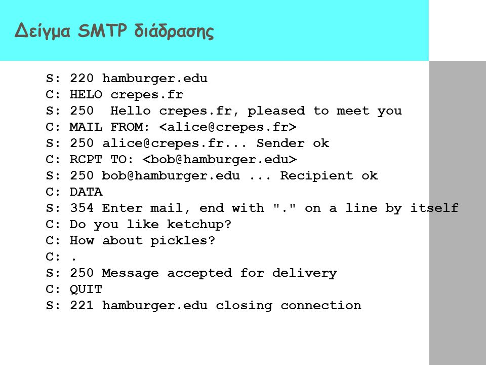 Δείγμα SMTP διάδρασης S: 220 hamburger.edu C: HELO crepes.fr