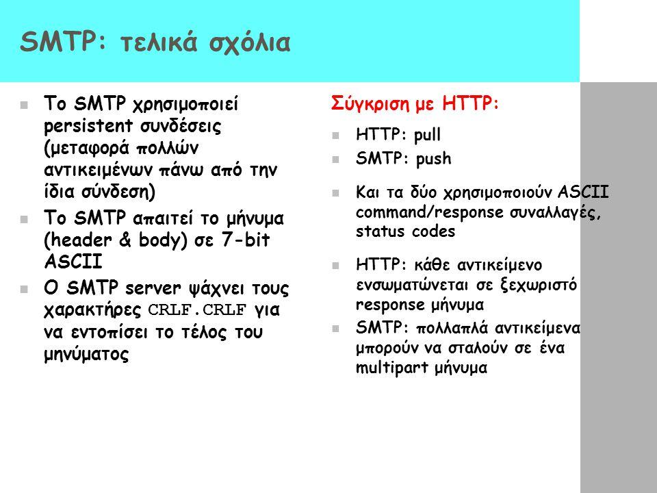 SMTP: τελικά σχόλια Το SMTP χρησιμοποιεί persistent συνδέσεις (μεταφορά πολλών αντικειμένων πάνω από την ίδια σύνδεση)