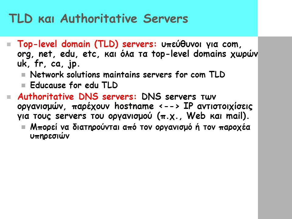 TLD και Authoritative Servers