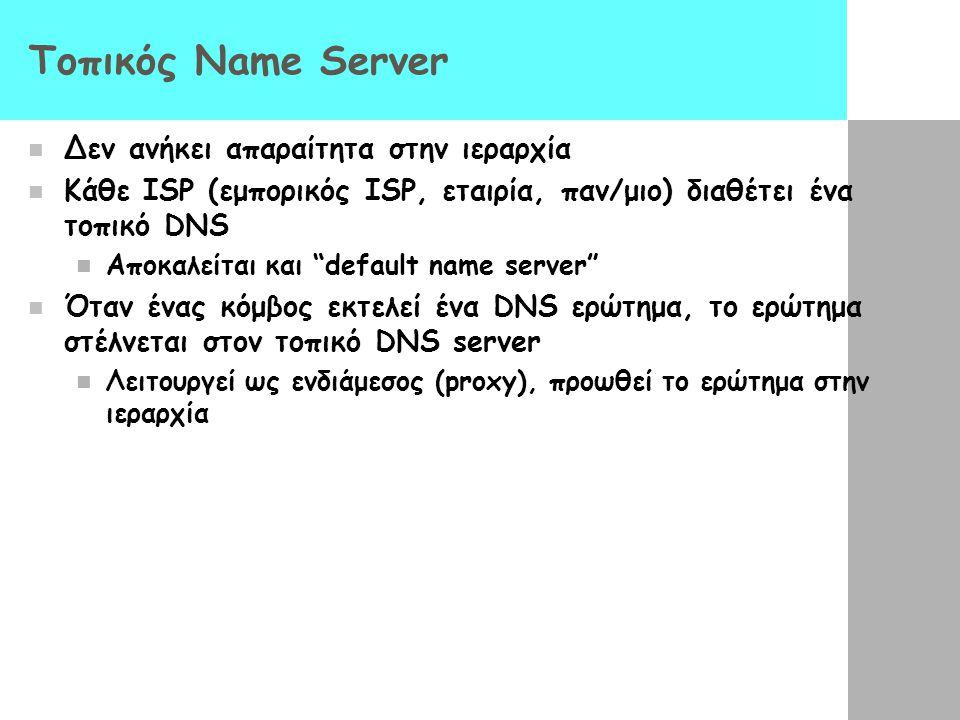 Τοπικός Name Server Δεν ανήκει απαραίτητα στην ιεραρχία
