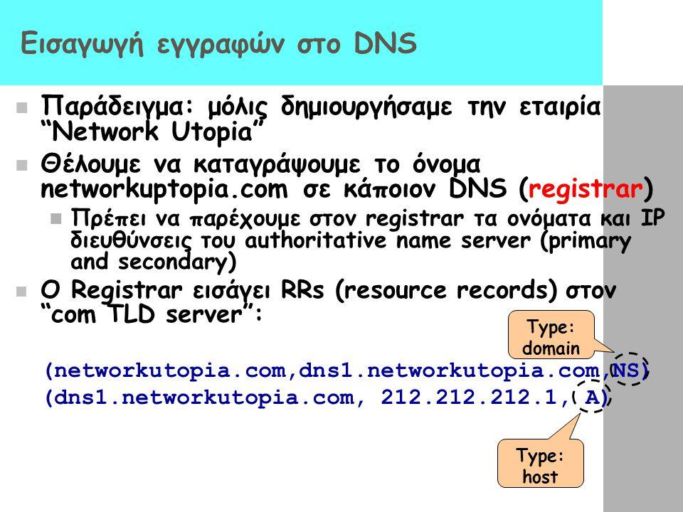 Εισαγωγή εγγραφών στο DNS