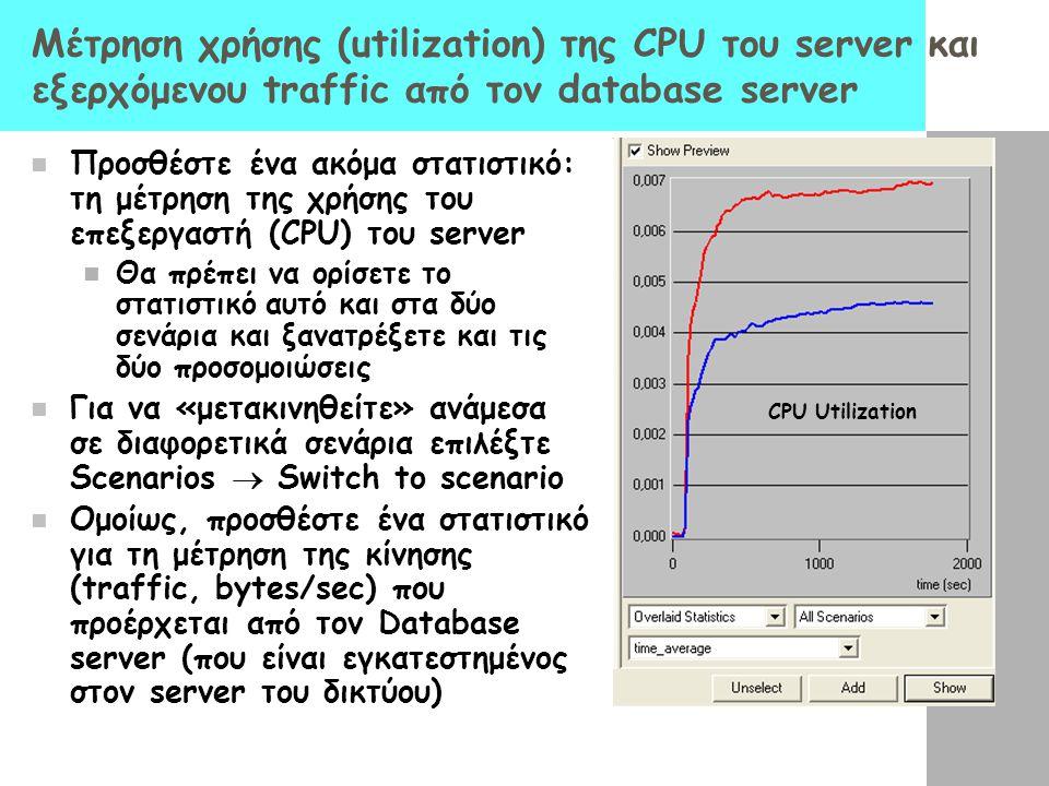 Μέτρηση χρήσης (utilization) της CPU του server και εξερχόμενου traffic από τον database server