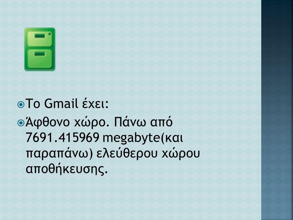 Το Gmail έχει: Άφθονο χώρο.
