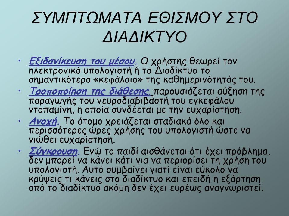 ΣΥΜΠΤΩΜΑΤΑ ΕΘΙΣΜΟΥ ΣΤΟ ΔΙΑΔΙΚΤΥΟ