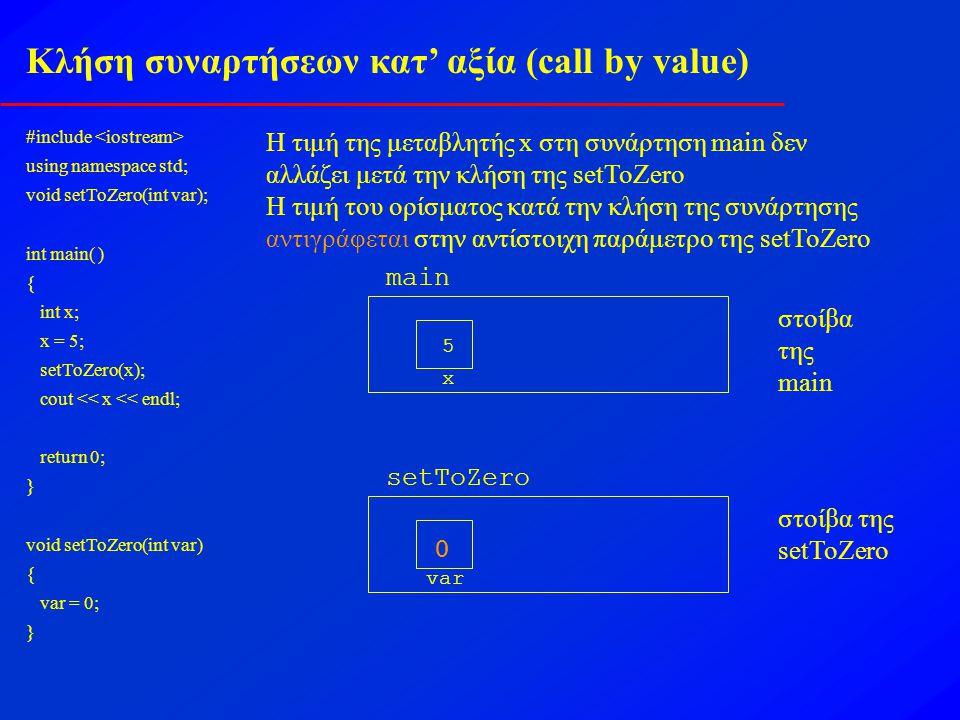 Κλήση συναρτήσεων κατ' αξία (call by value)