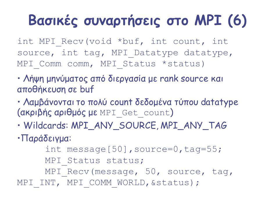 Βασικές συναρτήσεις στο MPI (6)