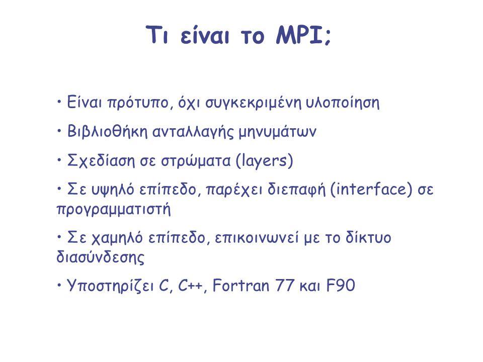 Τι είναι το MPI; Είναι πρότυπο, όχι συγκεκριμένη υλοποίηση