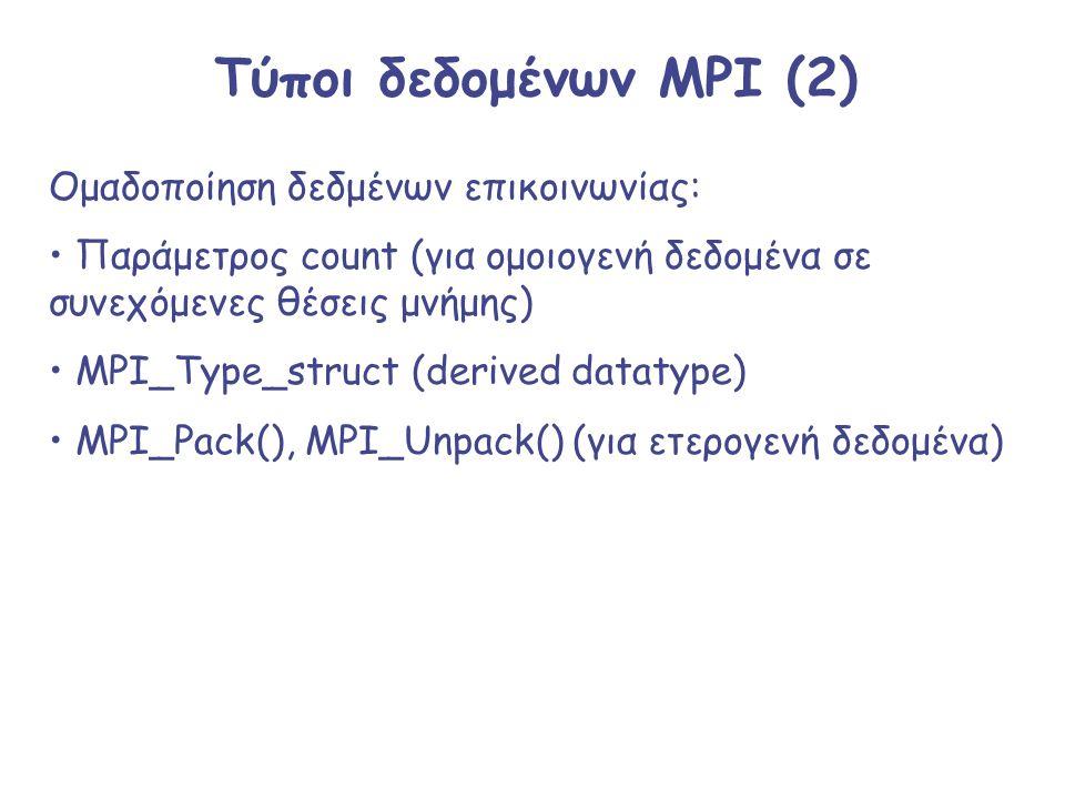 Τύποι δεδομένων MPI (2) Ομαδοποίηση δεδμένων επικοινωνίας: