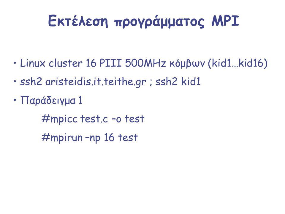 Εκτέλεση προγράμματος MPI