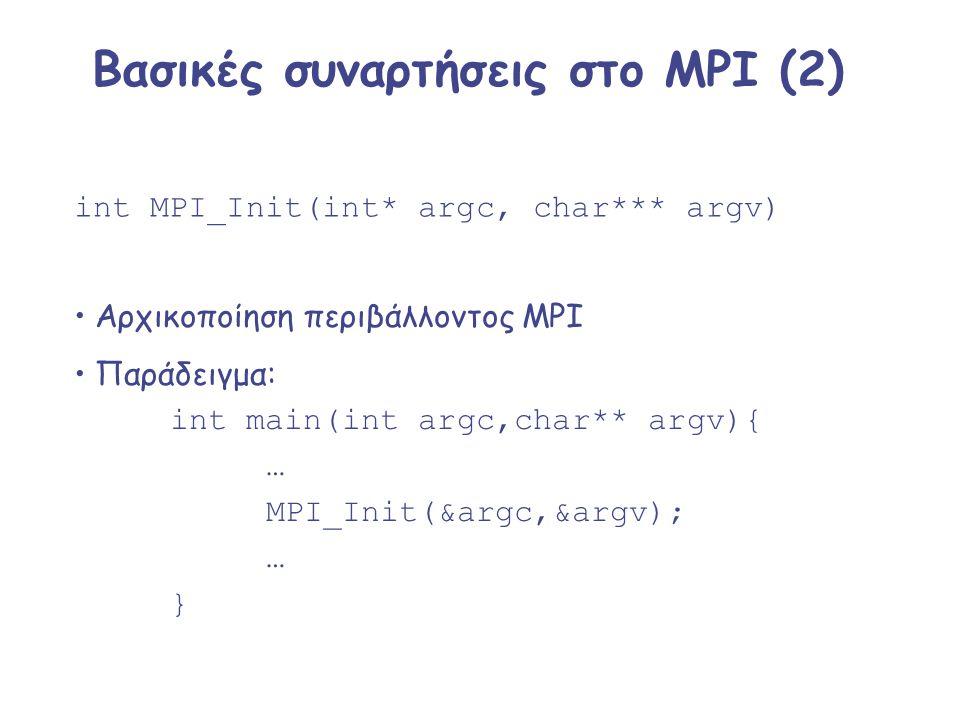 Βασικές συναρτήσεις στο MPI (2)