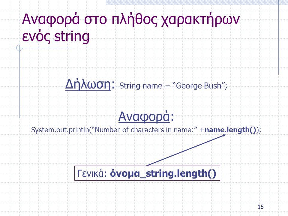 Αναφορά στο πλήθος χαρακτήρων ενός string