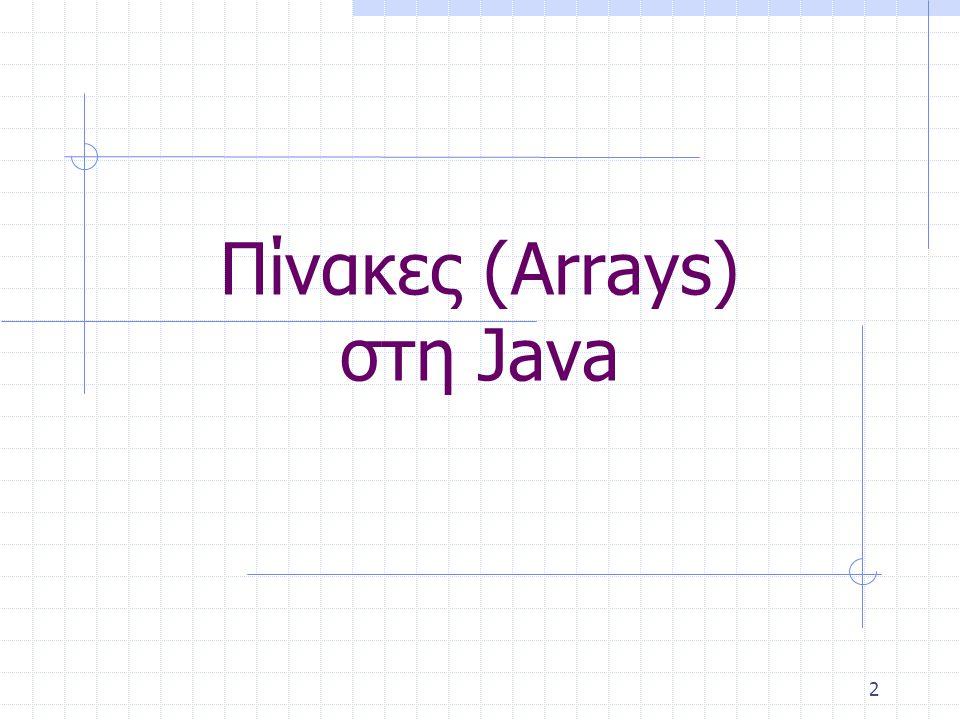 Πίνακες (Arrays) στη Java