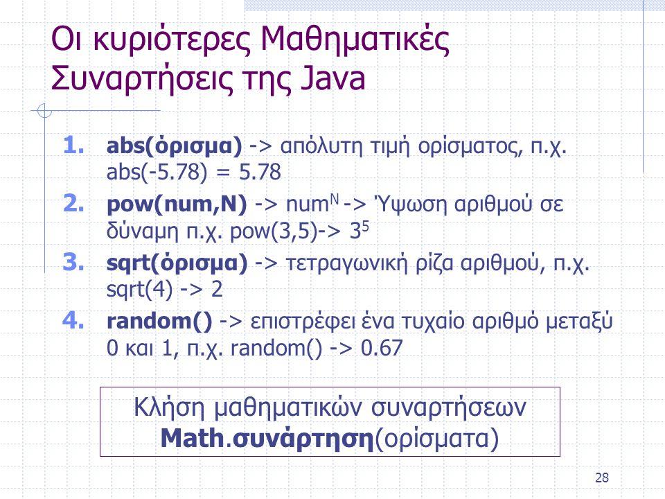 Οι κυριότερες Μαθηματικές Συναρτήσεις της Java