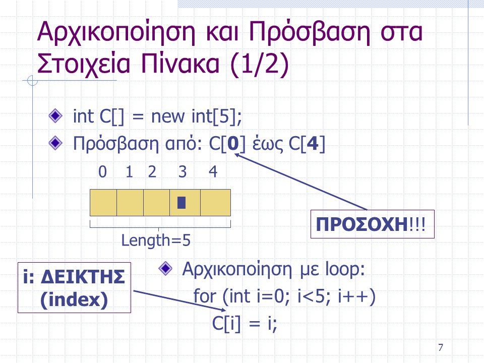 Αρχικοποίηση και Πρόσβαση στα Στοιχεία Πίνακα (1/2)