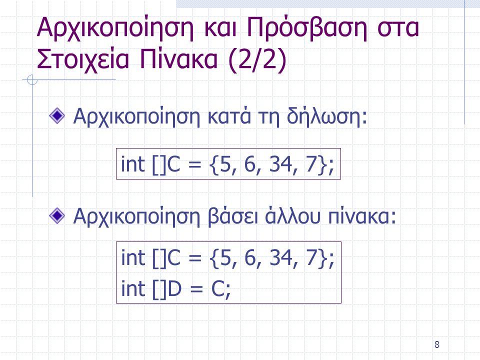 Αρχικοποίηση και Πρόσβαση στα Στοιχεία Πίνακα (2/2)