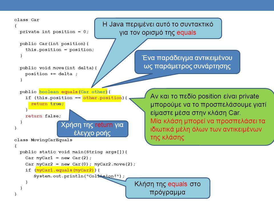 H Java περιμένει αυτό το συντακτικό για τον ορισμό της equals