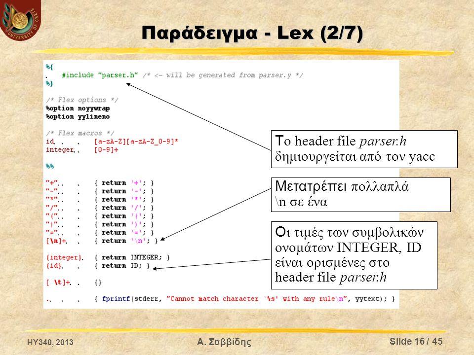 Παράδειγμα - Lex (2/7) Tο header file parser.h