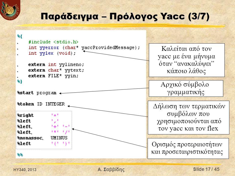 Παράδειγμα – Πρόλογος Yacc (3/7)