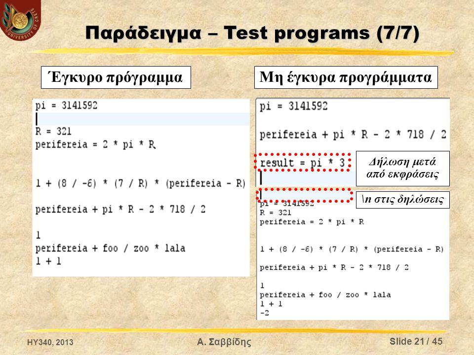 Παράδειγμα – Test programs (7/7)